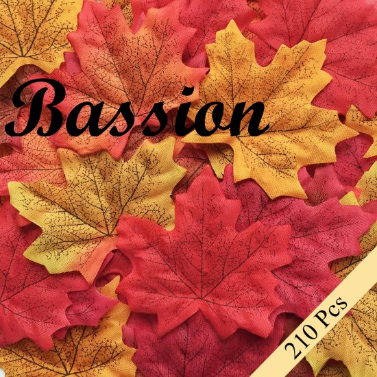 Bassion 210 Pcs Assorted Mixed Fall Colored Artificial Maple Leaves for Weddings, Events and Decorating - Click Image to Close