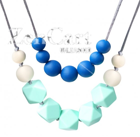 Bassion Baby Toy Silicone Teething Necklace Nursing Necklace for Mom to Wear, 4-in-1 Chewiness Baby Toys Teething Toys Teething Beads - Safety Knotted Silk Rope, BPA Free and FDA Approved - Click Image to Close