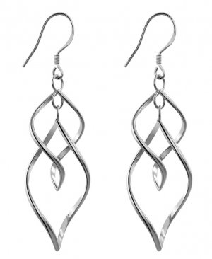 Bassion Womens Classic Double Linear Loops Design Twist Wave Earrings for Women Girls