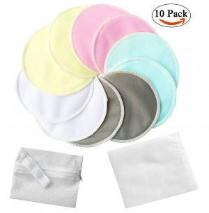 Bassion 10 Pack Organic Bamboo Nursing Pads with Laundry Bag