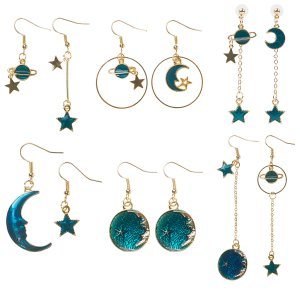 6 Pairs Enamel Planet Earrings Moon Star Earth Drop Hook Dangle for Women Girls
