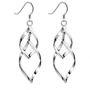 Bassion Bassion Women's Classic Double Linear Loops Design Silver Earrings