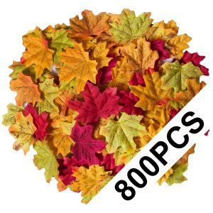 Bassion 800 Pcs Assorted Mixed Fall Autumn Colored Artificial Fake Maple Leaves for Weddings, Thanksgiving Decorations, Events and Decorating