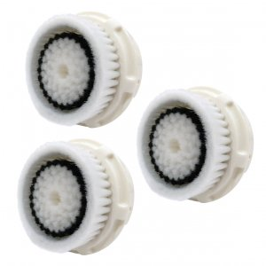 Bassion Compatible Facial Brush Replacement Heads with Caps for Sensitive Skin, 3 Pack