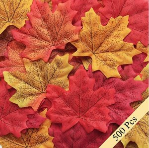 Bassion 500 Pcs Assorted Mixed Fall Colored Artificial Maple Leaves for Weddings, Events and Decorating